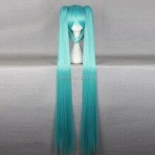 Top Wig 2015 Queen Hair 130cm 51″ Miku Cos Split Wig Hatsune Miku + 2 Clip On Ponytail Cosplay Hot Selling Heat Resistent Wigs