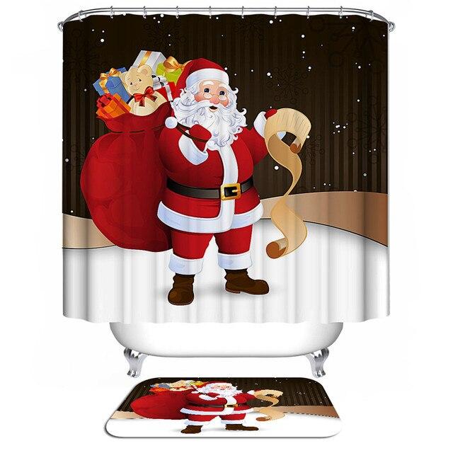 New Santa Claus Christmas Bathroom Shower Curtains Bath Curtain