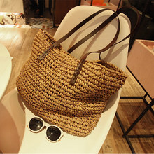 Women Handbag Summer Beach Bag Rattan Woven Handmade Knitted Straw Large Capacity Totes Leather Women Shoulder Bag Bohemia New(China)