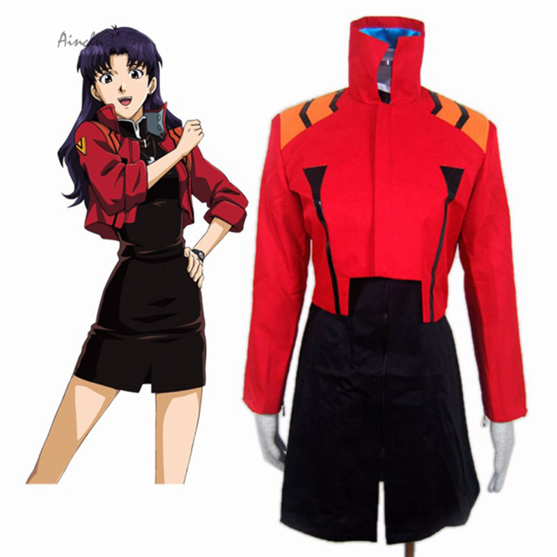 Ainclu FreeShipping Adult Kid Red Neon Genesis Evangelion Katsuragi Misato Cosplay Costume Anime Costume For Halloween Christmas