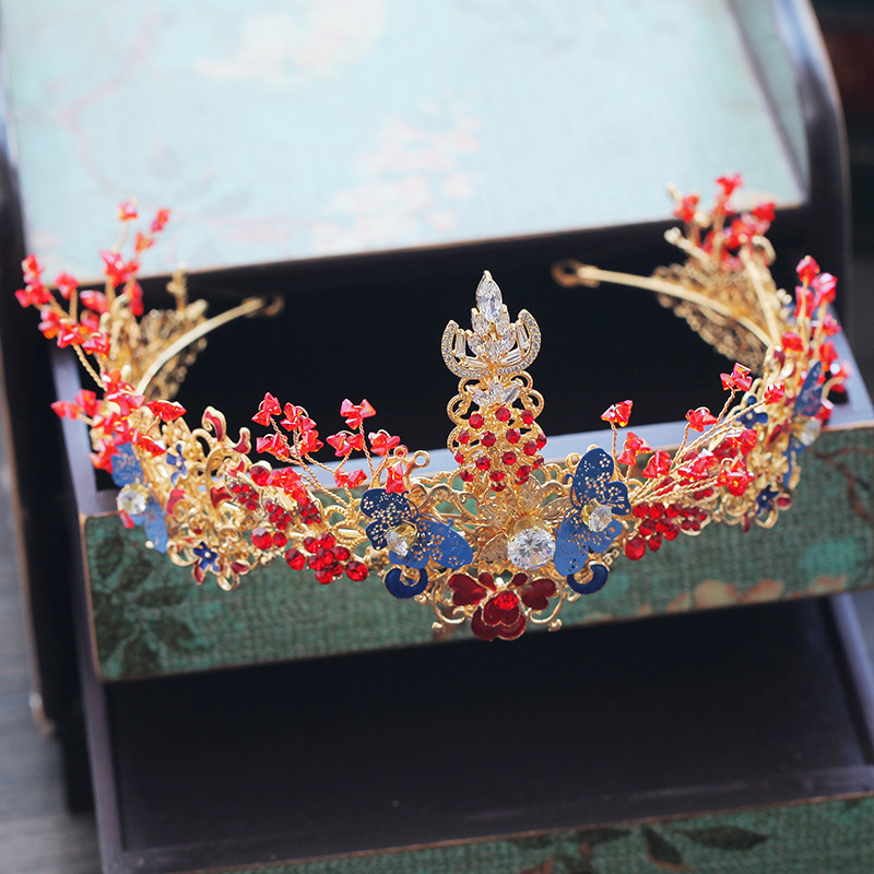 Traditional Chinese Red Wedding Headpiece Costume Blue Butterfly Hairpin Beaded Bridal Hair Jewelry 3