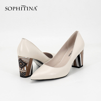 SOPHITINA 2018 Women's Pumps Genuine Leather Fashion High Square Heel Pointed Toe Party Autumn Shoes Handmade Shallow Pumps A84