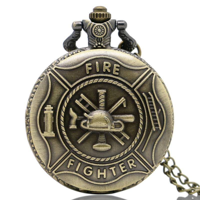 Bronze Fire Fighter Control Quartz Pocket Watch Necklace Pendant Mens Gift Relogio De Bolso 2018