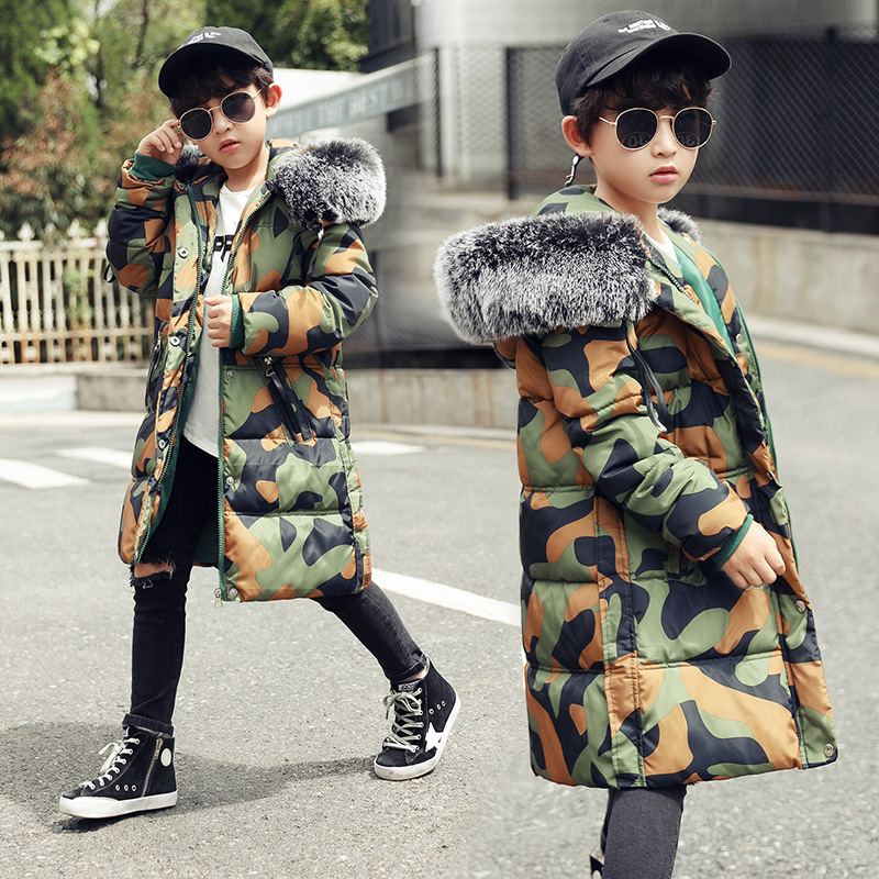 2017 Boys Winter coat Thick Children Cotton Hooded Jacket Kids Pockets Warm Wear Fashion Winter Coats for 4-14Y Outwear Big Fur 2016 winter boys wadded jacket kids hooded spider printed thick fleece red blue coat toddler warm outwear children clothes 2 4t