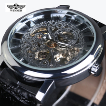 Winner Royal Carving Skeleton Brown Leather Strap Silver Case Transparent Case Men Watch Top Brand Luxury Mechanical Watch Clock
