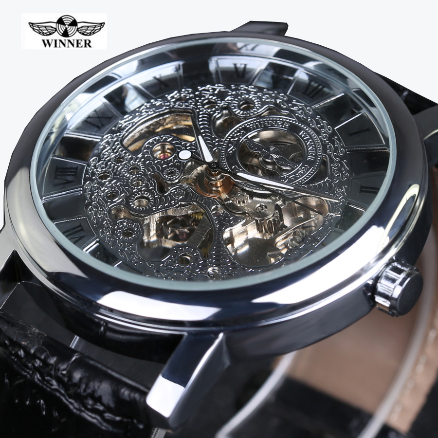 Winner Royal Carving Skeleton Brown Leather Strap Silver Case Transparent Case Men Watch Top Brand Luxury Mechanical Watch Clock ks navigator series silver case luxury black skeleton transparent case back men automatic mechanical leather strap watch ks209