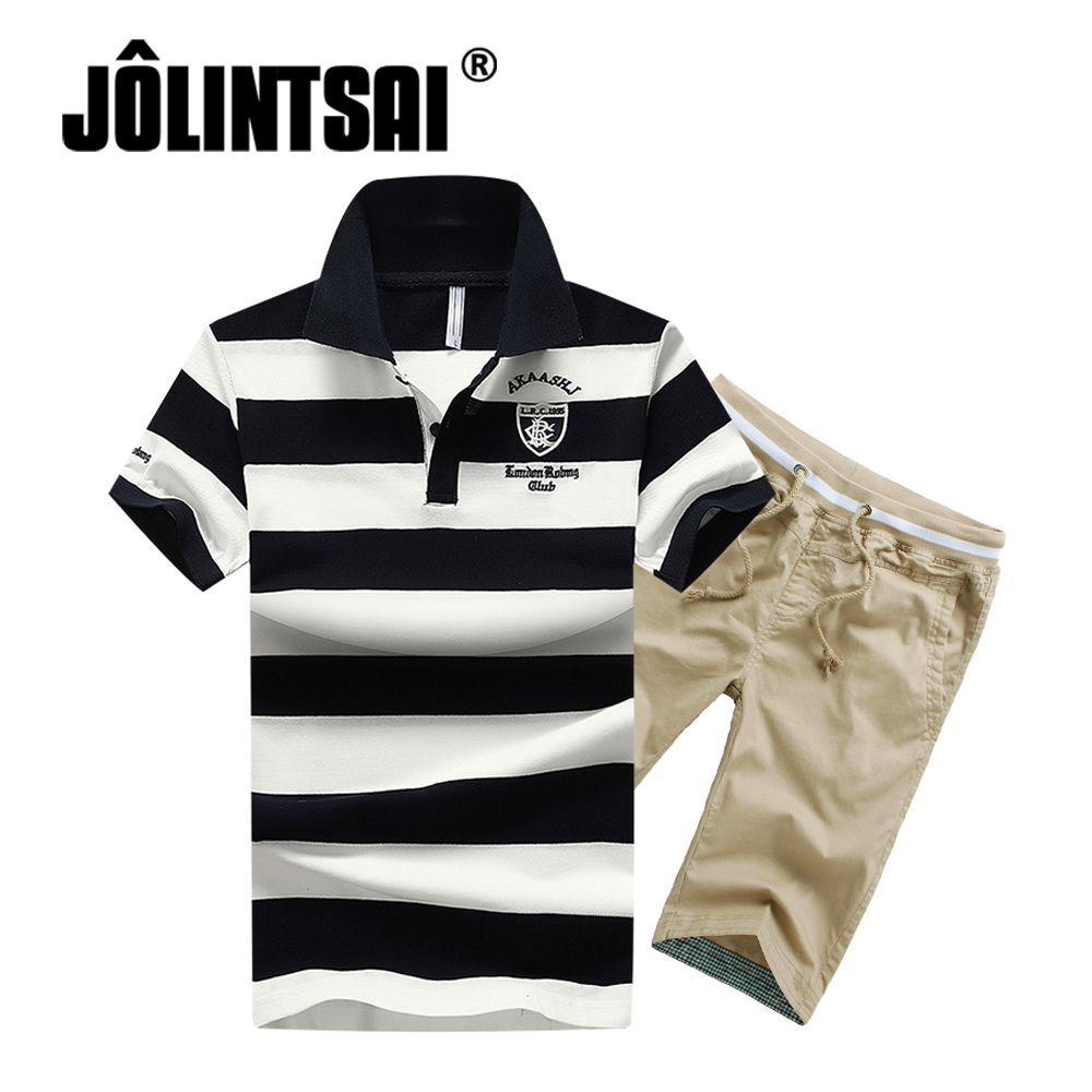 JOLINTSAI 2018 Fashion New Male Short Sets Summer Hot Casual Striped Polo Shirt+Shorts Tracksuit 2 Piece Sets Mens Sportswear