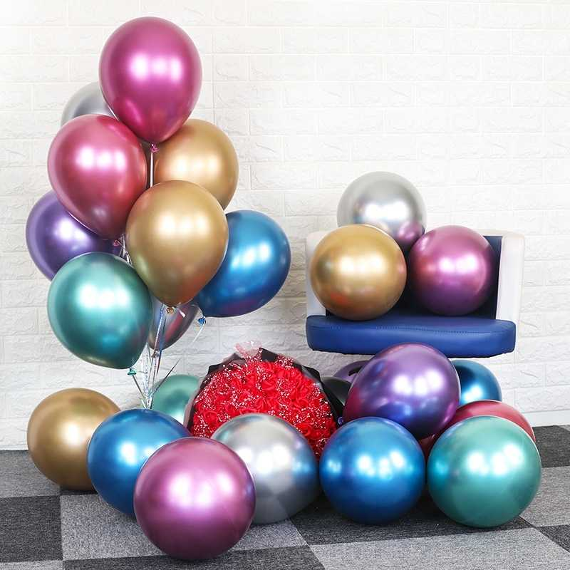 10pcs 12inch Metal Latex Balloon Multicolor Thick Chrome Metal Color Inflatable Balloon Wedding Birthday Party Decoration 6l