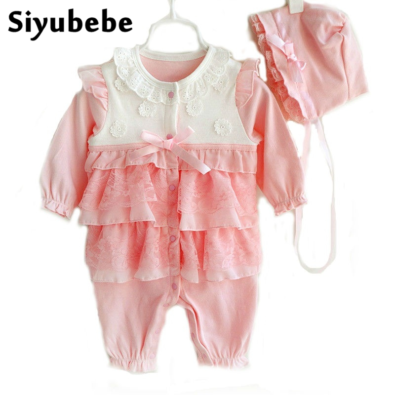 Baby Girls Clothing Sets Infant Newborn Baby Girls Romper With Hat Princess Style Ropa Bebe Jumpsuit Baby Clothes Outfit Set