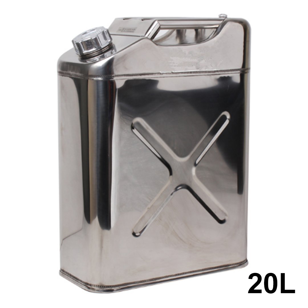 304 Stainless Steel 20Liters 5Gallon Jerry Can Fuel Tank Petrol Canister Oil Container for Car ATV Motorcycle