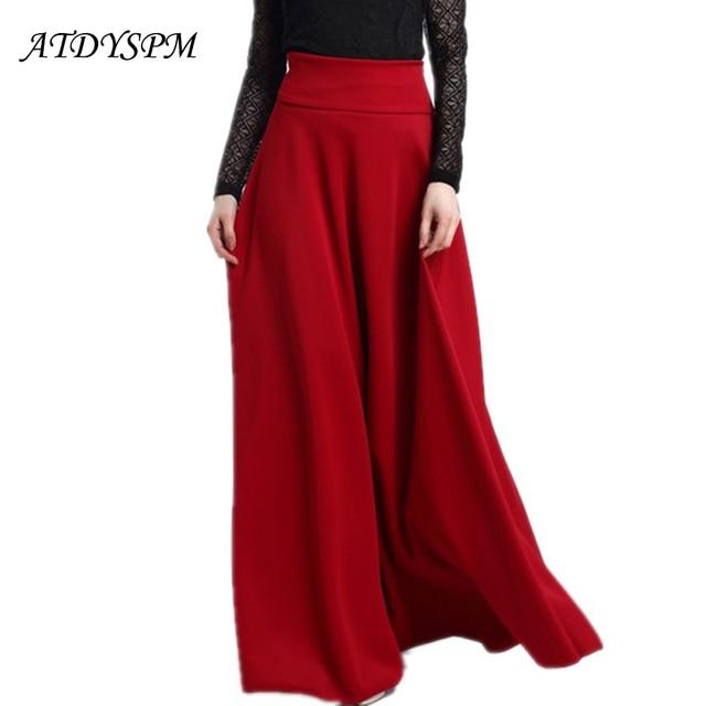 24ae20945f2 Women Plus Size Elegant High Waist Skirts Vintage Pleated Casual Long Skirt  Faldas Saia Big Swing A-Line Skirts Maxi Skirts