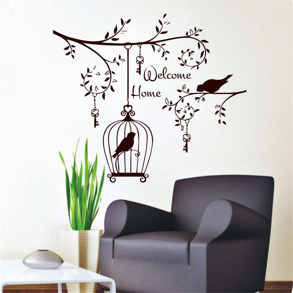 Welcom home living room decorative wall sticker birds in the tree welcom home living room decorative wall sticker birds in the tree vinyl removable hanging keys and bird cage decals in hair clips pins from beauty amipublicfo Image collections