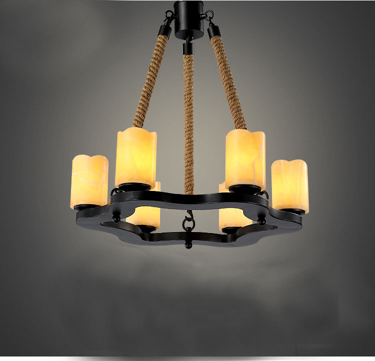 Modern Chandelier Lighting For Dining Room,6 Arms Marble Candle Lighting  Fixture Profiled Iron Hemp