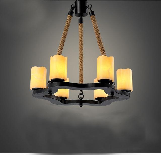 Moderne Kronleuchter Für Esszimmer, 6 Arme Marmor Kerze Leuchte Profil  Eisen Hanfseil Hängenden Deckenleuchte