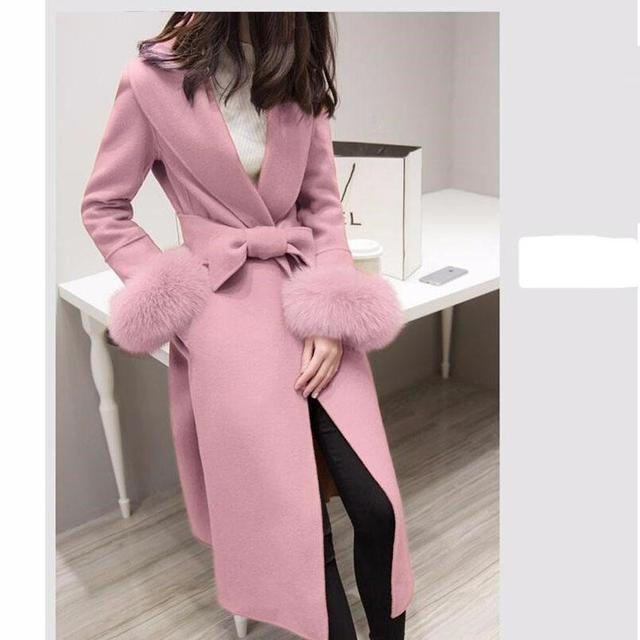 2016 Winter Jacket Coat Women Fashion Han Edition Cultivate One's morality Pink Cloth Coat