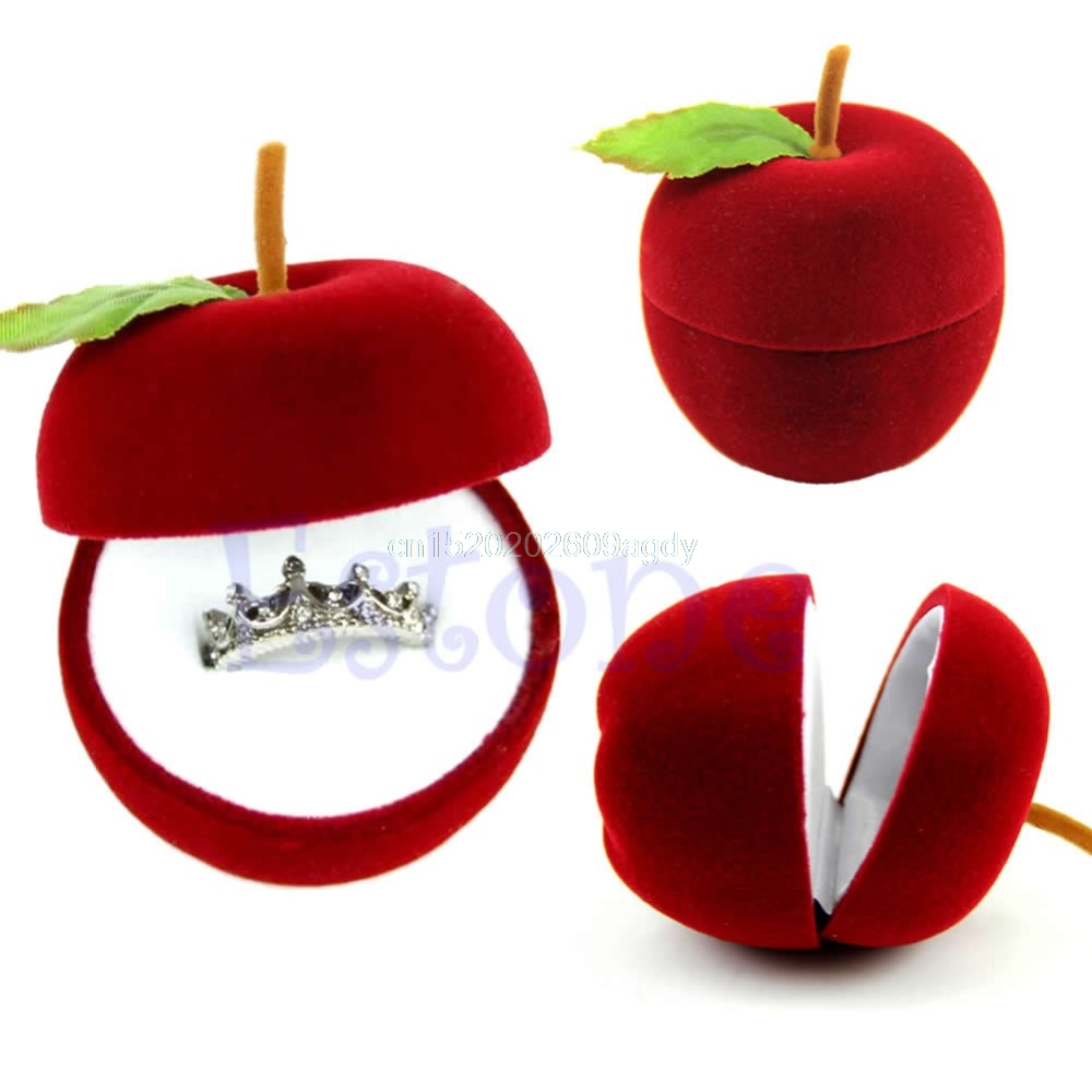 Engagement ring box christmas ornament - Free Shipping 1pc Velvet Apple Wedding Earring Ring Pendant Jewelry Display Box New Gift