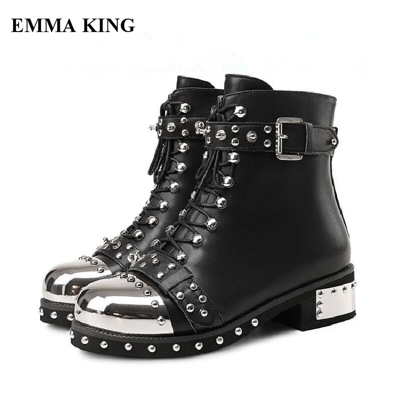 Casual Cloutés Noir blanc Femmes Bottes Slouch Moto En Chaussures Noir Appartements Robe Rivet Lace Cuir Up Ankle Bottines Haute Qualité Hiver zqHXwRzZ