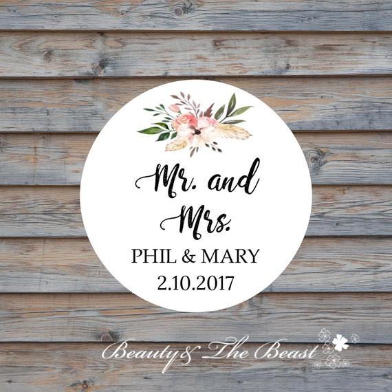 Personalized MR & MRS Wedding Bottle Sticker,Cupcake