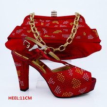 Fashion Red Color African Shoes and Bags Matching Set Italian Matching Shoe and Bag Set  for Parties CP63009