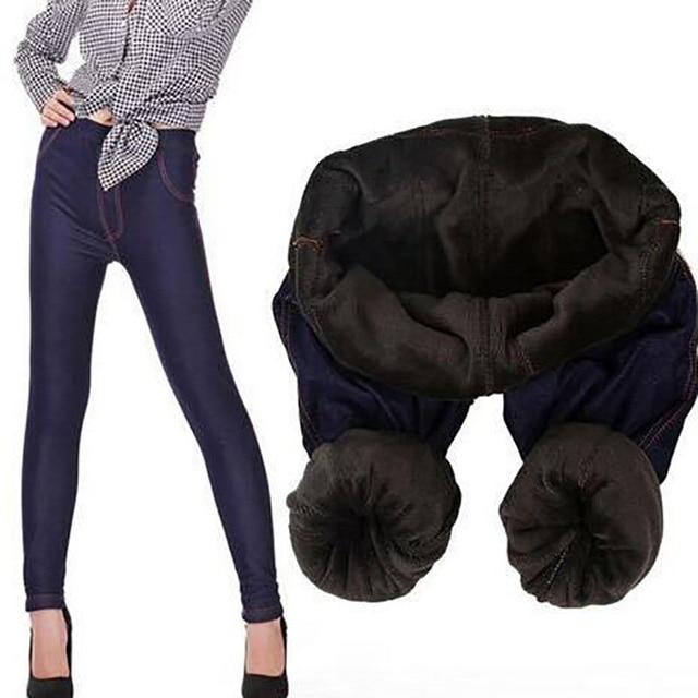 meet new cheap best prices US $10.99 |2018 Winter Warm Jeans Leggings Women Thicken Warm Pants Fashion  Fleeces Inside Denim Trousers Footless Leggings With Pockets-in Leggings ...