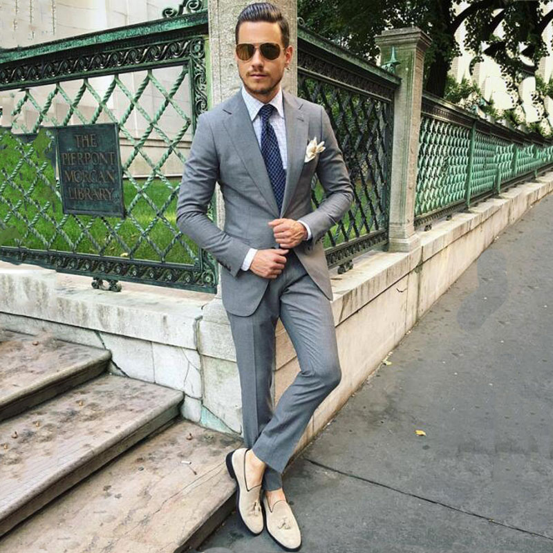 Formal Grey Business Men Suits For Suits Groom Tuxedos Man Suits Slim Fit Costume Homme 2Piece Latest Designs Terno Masculino
