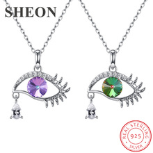 SHEON Luxury 100% 925 Sterling Silver Lucky Crystal Eyes Tear Necklaces & Pendants for Women Collares Fine Jewelry 2 Colors