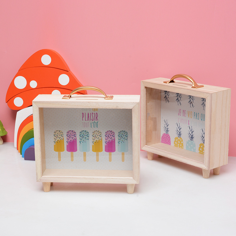 Nordic Style Wooden Suitcase Money Box Kids Room Decoration Scandinavian Style Children Room Decor Nordic Decoration For Room