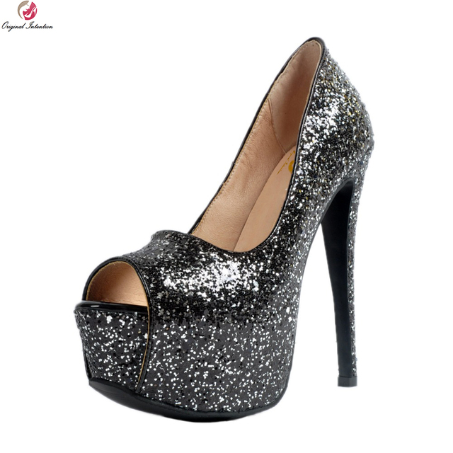 Original Intention Popular Women Pumps Nice Glitter Peep Toe Thin Heels  Pumps High-quality Black e4e9e9918c88