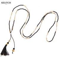 Vintage Men Fine Jewlery Black Tassel Pendant Necklace Black Gold Silver Bead Bracelet Long Choker Fashion