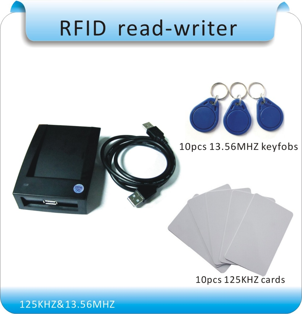 Free shipping 125KHZ & 13.56MHZ two working frequency RFID reader / USB port no drive , output format TXT free shipping 15 kinds output format flat casing 13 56mhz mif are s 50 ic card reader rfid reader usb port and 10pcs cards
