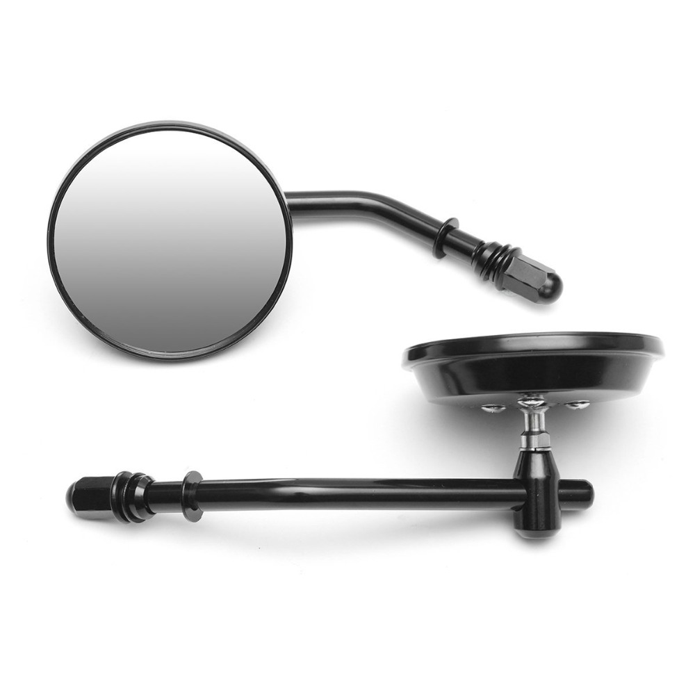 """8mm Black/Chrome Motorcycle Mirror Short Stem 3""""Round Rearview Mirror For Harley Dyna Bobber Chopper Old School 1982 2018 UpSide Mirrors & Accessories   -"""