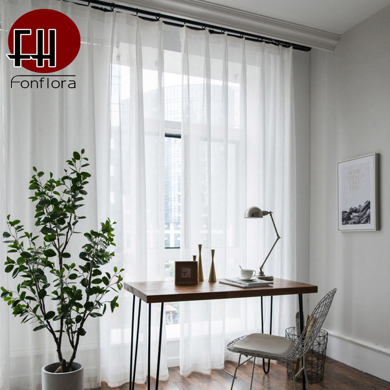 Modern Solid White Tulle Curtains for Living Room Plain Voile Sheer Curtain Window Treatments Custom Curtains Wedding Decoration|Curtains| |  - title=