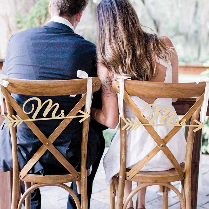 Wedding Chair Signs Mr & Mrs Arrow Design for Boho Chic Wedding Decor - Mr and Mrs Wedding Chair Signs, Hanging