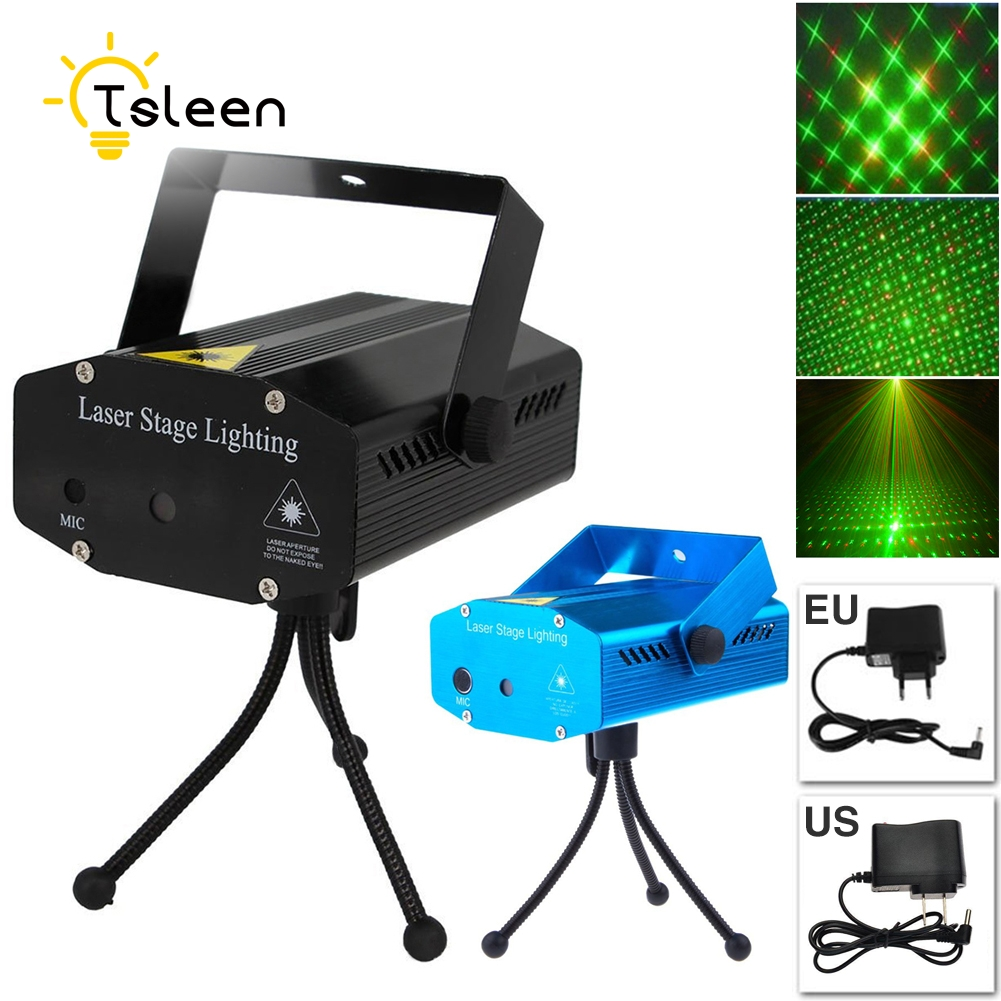 TSLEEN Portable Mini LED Red & Green Star Laser Projector DJ Disco Stage Light Xmas Party Lighting Show +Tripod + US/EU Charger