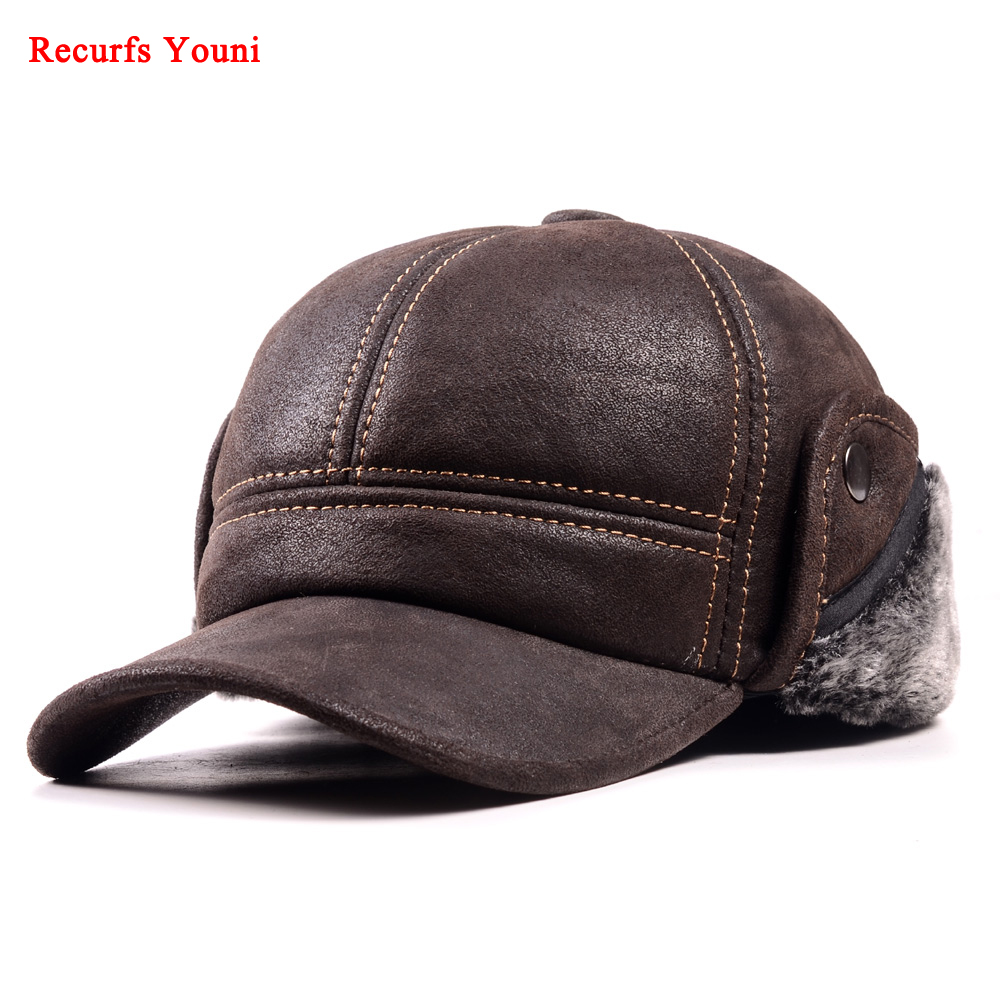 RY9100 Male Winter Genuine Leahter Suede Bomber Hat Man Nubuck Thick Head Warm Dome Caps Elder Black/Brown sewing Fitted GorrasMens Bomber Hats   -