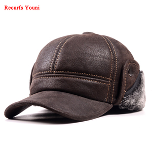 RY9100 Male Winter Genuine Leahter Suede Bomber Hat Man Nubuck Thick Head Warm Dome Caps Elder Black/Brown sewing Fitted Gorras