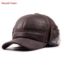 RY9100男性の冬の本leahterスエード爆撃機帽子マンヌバック厚いヘッド暖かいドームキャップ長老黒/ブラウン縫製フィットgorras