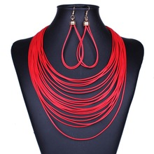 Fashion magnetism button multilayer blue/black leather chain choker statement necklace women dress NK08