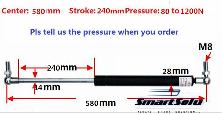 Free shipping 80 to 1200N force 580mm central distance, 240 mm stroke, pneumatic Auto Gas Spring, Lift Prop Gas Spring DamperFree shipping 80 to 1200N force 580mm central distance, 240 mm stroke, pneumatic Auto Gas Spring, Lift Prop Gas Spring Damper
