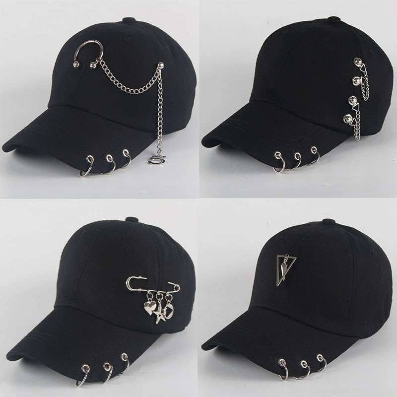 Unisex Caps Piercing-Ring Baseball-Cap Snapback Dad-Hat Punk Adjustable BTS Solid Cotton