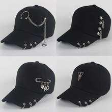 Папа шляпа BTS креативный пирсинг кольцо бейсбольная кепка панк хип хоп кепка хлопок взрослые повседневные одноцветные регулируемые унисекс кепки Snapback