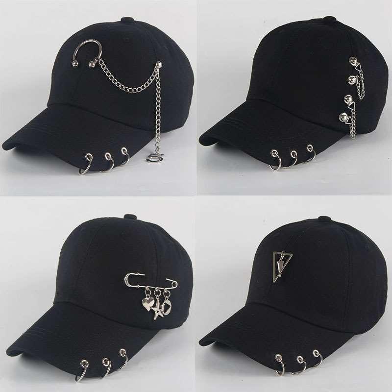 Dad Hat BTS Creative Piercing Ring Baseball Cap Punk Hip Hop Caps Cotton Adult Casual Solid Adjustable Unisex Caps Snapback