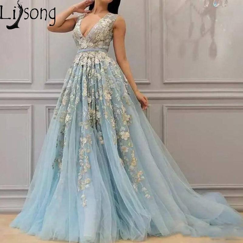 New Arrival Baby Blue Long   Prom     Dresses   3D Handmade Floral Flowers Romantic Evening   Dress   V Neck Zipper Vestido de festa longo