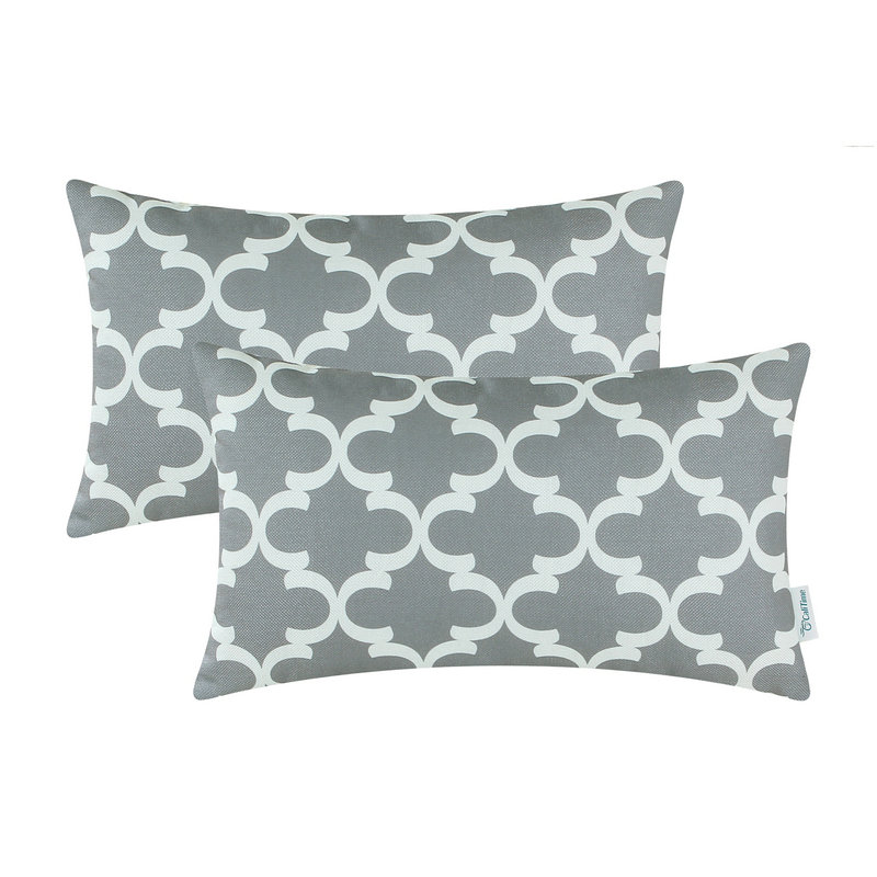 2PCS Rectangle CaliTime Gray Cushion Cover Pillows Shell Quatrefoil Accent Geometric Hom ...