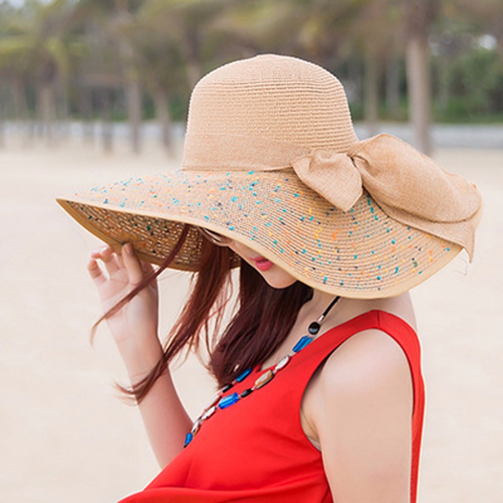 Hurber Womens Straw Wide BrimSun Protection Bucket Hat Floppy Foldable Hat Summer Beach Cap for Travel
