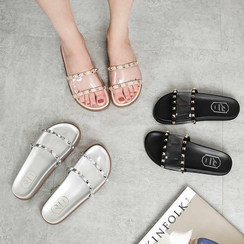 746c1c0b6 Women slippers Summer Flat Sandals Silver Rivets Studded Slip on Brand  Beach Flip Flops Slides PVC