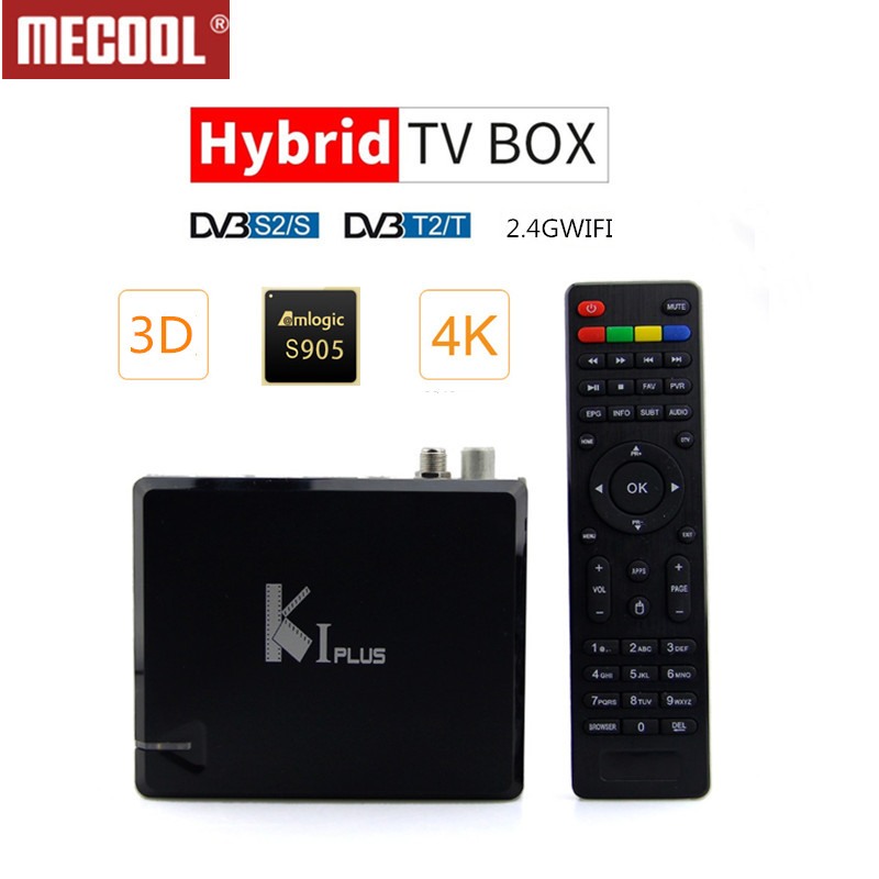 MECOOL KI PLUS DVB-T2 DVB-S2 DVB-C Android 7.1 Caixa de TV 4 em 1 Combo 1GB GB Amlogic 8 S905D quad Core 64bit K1 PLUS 4K Set top Box