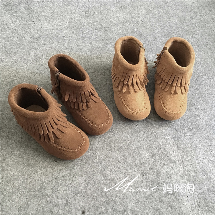 Tassel Boots Girls Shoes Spring And Autumn Baby Leather Boots Suede Cowhide Matte Boots Side Zipper Children Shoes Tassel Boots Girls Shoes Spring And Autumn Baby Leather Boots Suede Cowhide Matte Boots Side Zipper Children Shoes