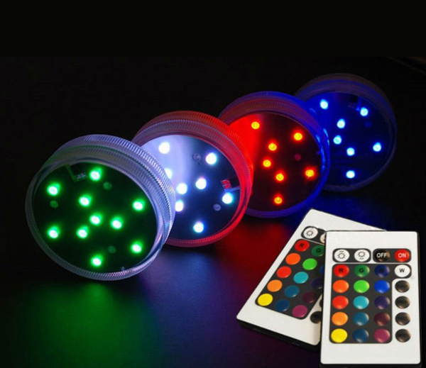Free Shipping 12pcs/lot RGB multi colors Remote control LED light as Wedding Party Supplies Centerpiece under vase light
