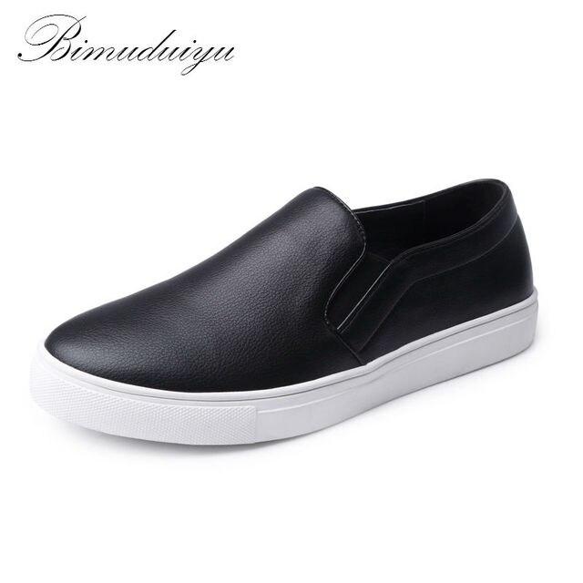 BIMUDUIYU Lente Herfst Synthetisch fiber mannen Platte Loafer Lui Casual Schoenen Grote Omvang Mannelijke Lederen Schoenen mannen